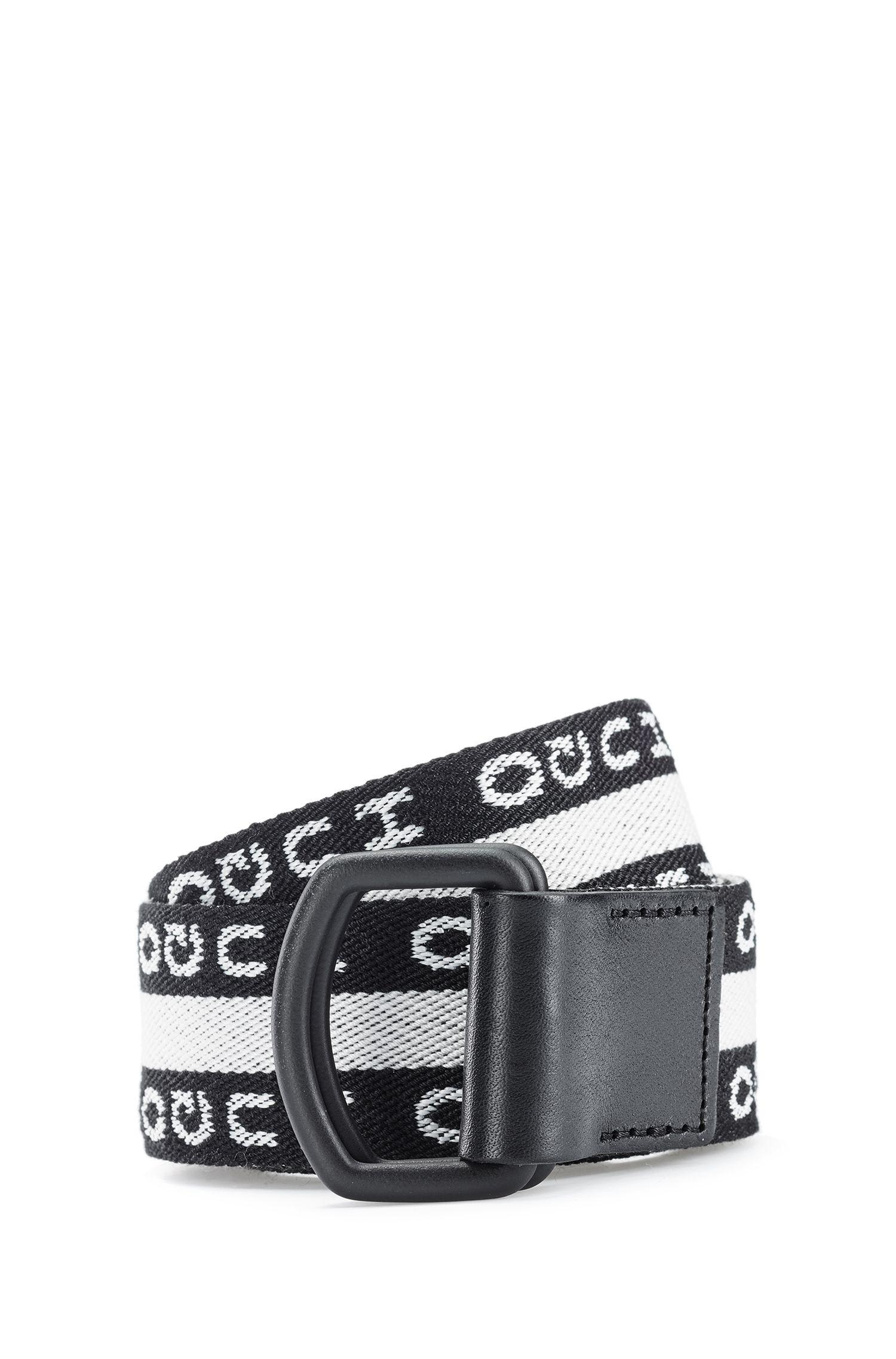Reverse-logo belt with black-varnished buckle, Black