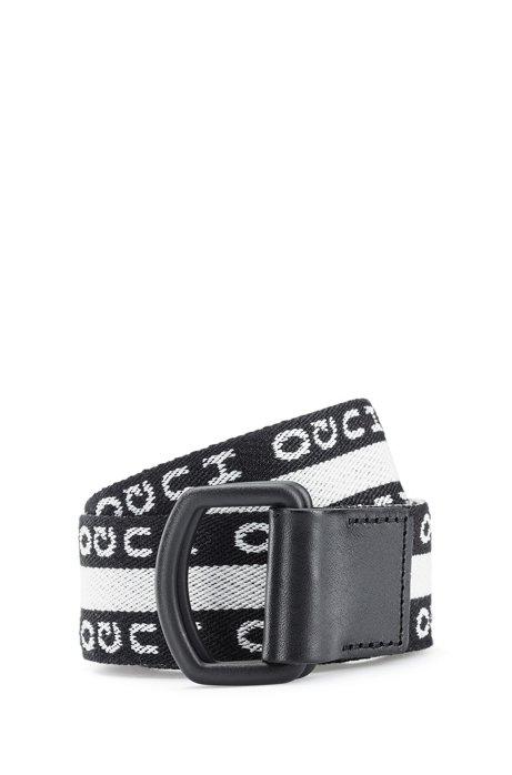 Gürtel mit spiegelverkehrtem Logo und dunkel lackierter Schließe, Schwarz