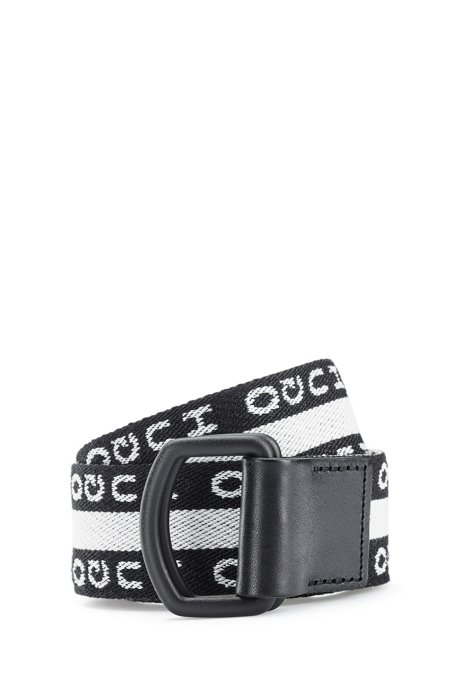 Riem met gespiegeld logo en zwartgelakte gesp, Zwart