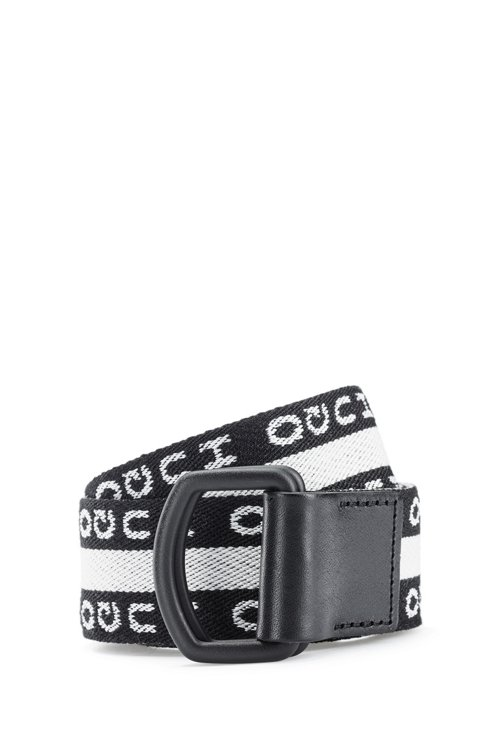 Hugo Boss - Reverse-logo belt with black-varnished buckle - 1