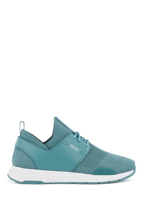 Unisex stretch-knit trainers with leather panels, Turquoise