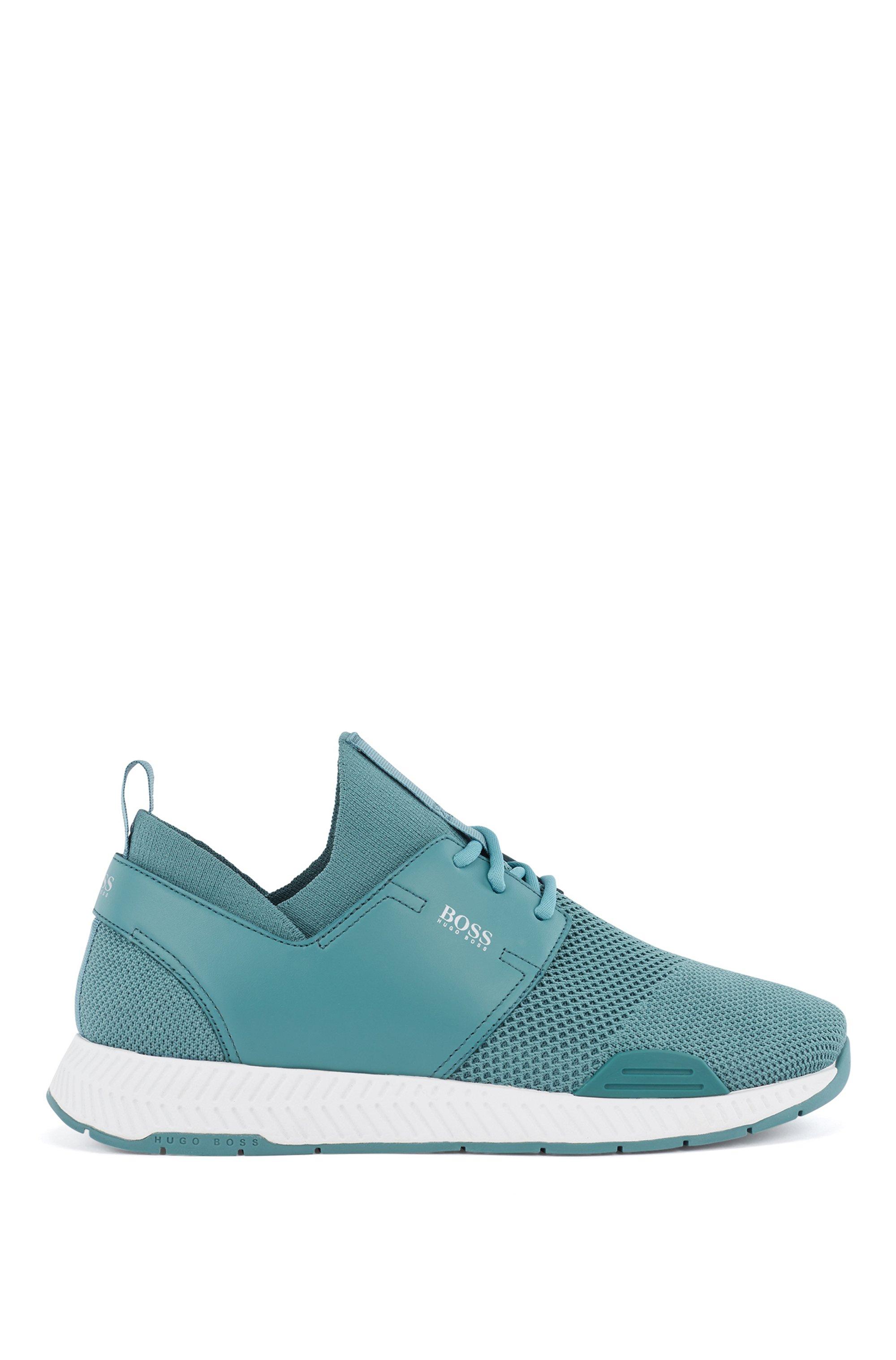 Unisex-Sneakers aus Stretch-Strick mit Ledereinsätzen, Türkis