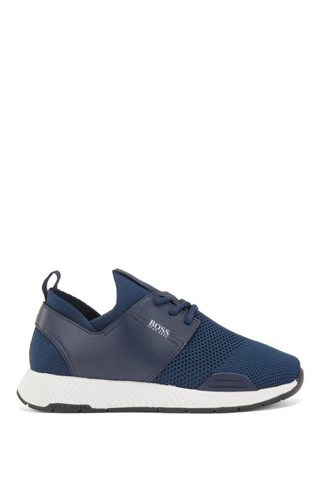 Unisex stretch-knit trainers with leather panels, Dark Blue