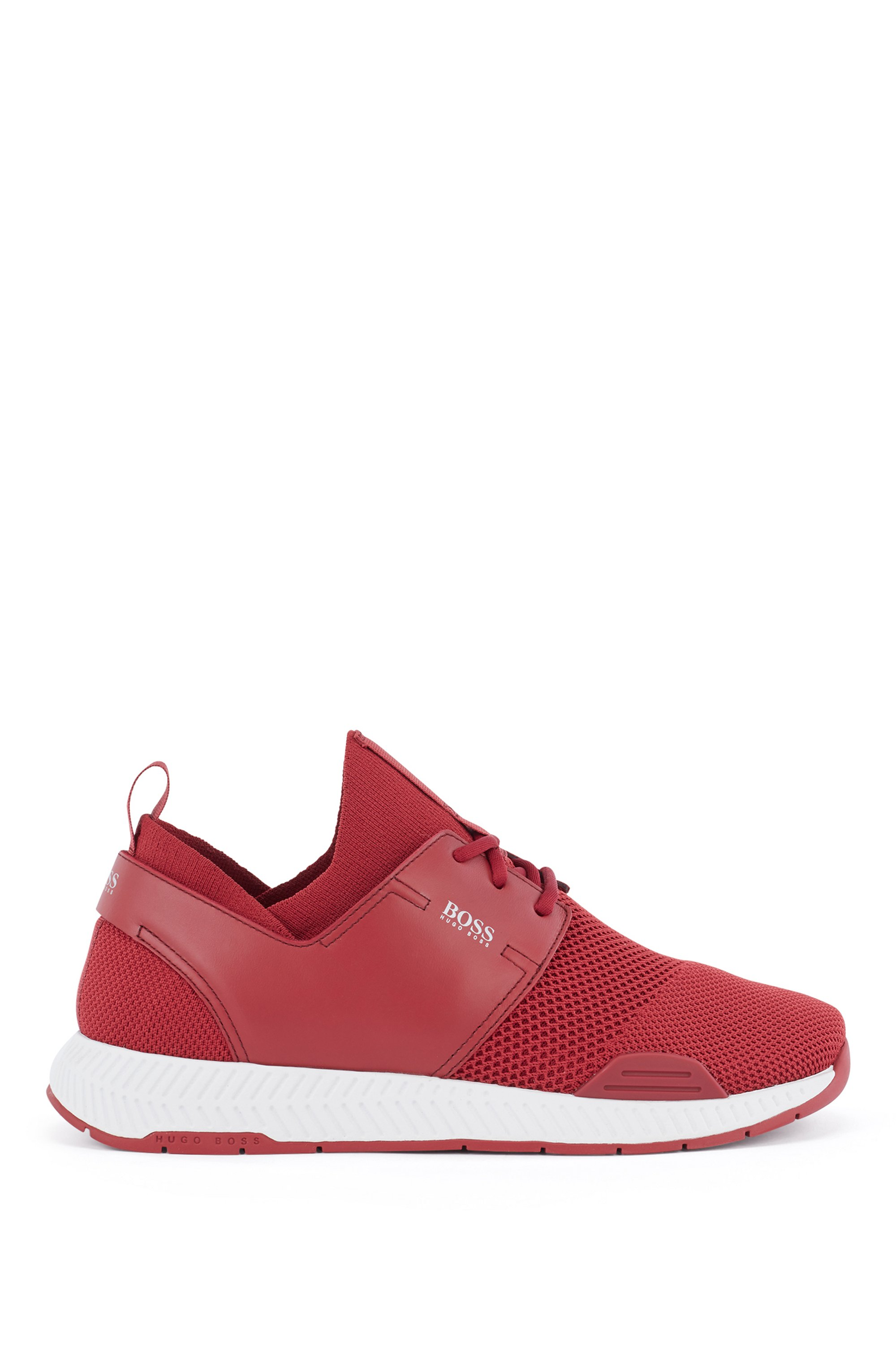 Unisex stretch-knit trainers with leather panels, Red