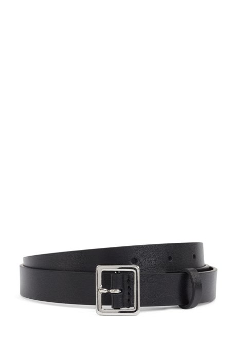 Italian-leather belt with polished-metal square buckle, Black