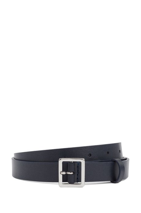Italian-leather belt with polished-metal square buckle, Dark Blue