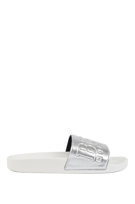 Logo slides with metallic strap, Silver