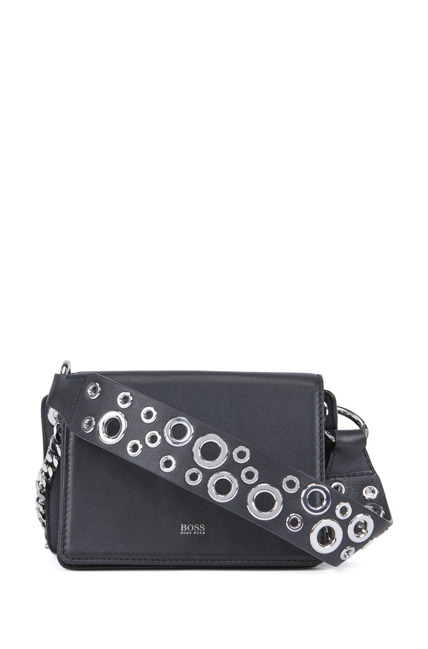 Crossbody bag in Italian leather with eyelet-detailed handle, Black