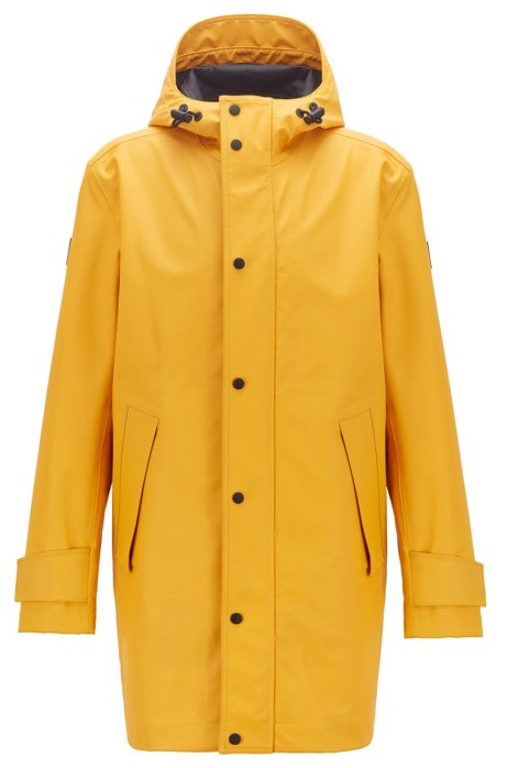 Waterproof rain jacket in laminated stretch fabric, Yellow