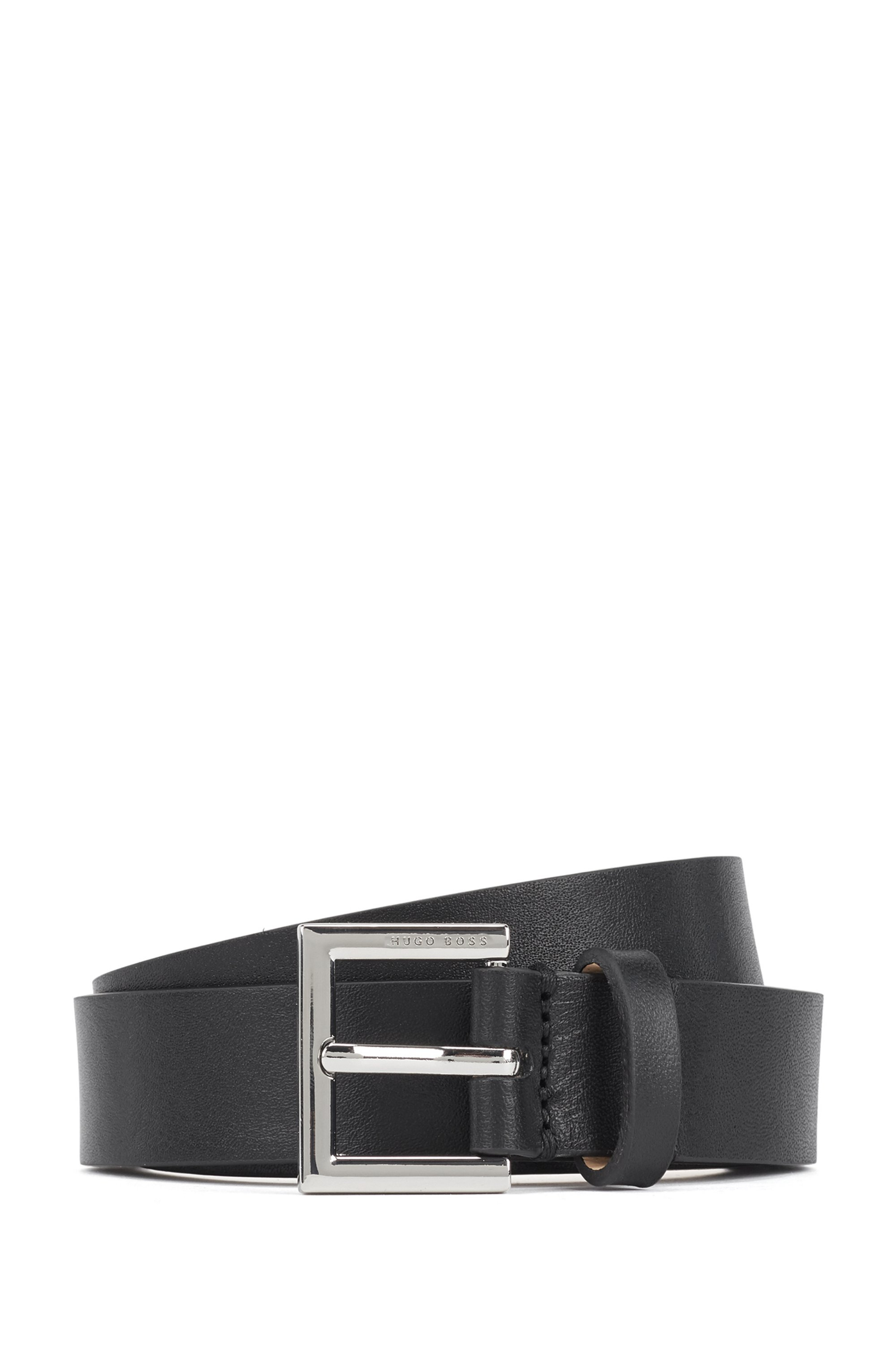Italian-made belt in nappa leather with polished buckle, Black