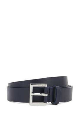 Italian-made belt in nappa leather with polished buckle, Dark Blue