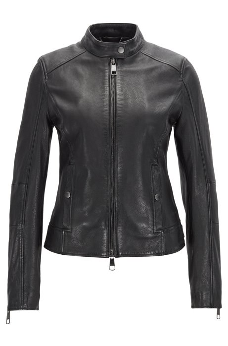 Biker jacket in structured nappa leather with stand collar, Black