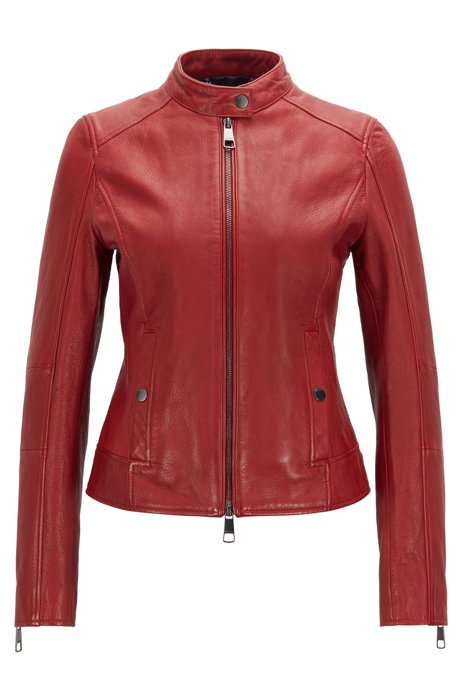 Biker jacket in structured nappa leather with stand collar, Dark Red