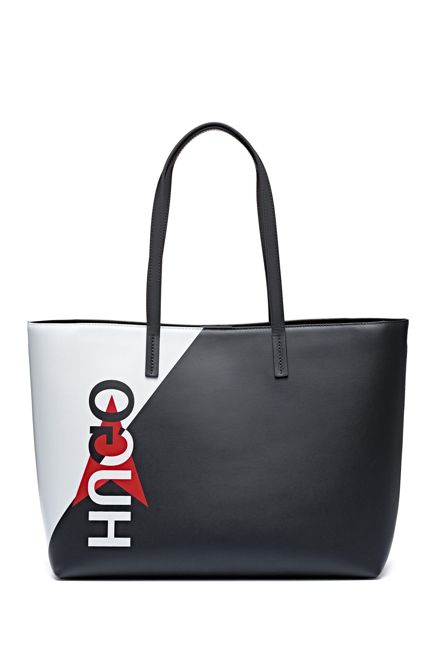 Shopper aus italienischem Leder mit Colour-Blocking und spiegelverkehrtem Logo, Schwarz