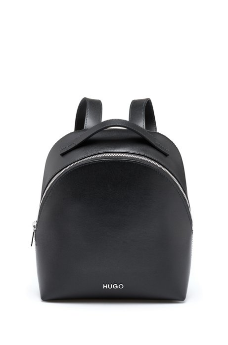 Zipped backpack in Italian palmellato leather, Black