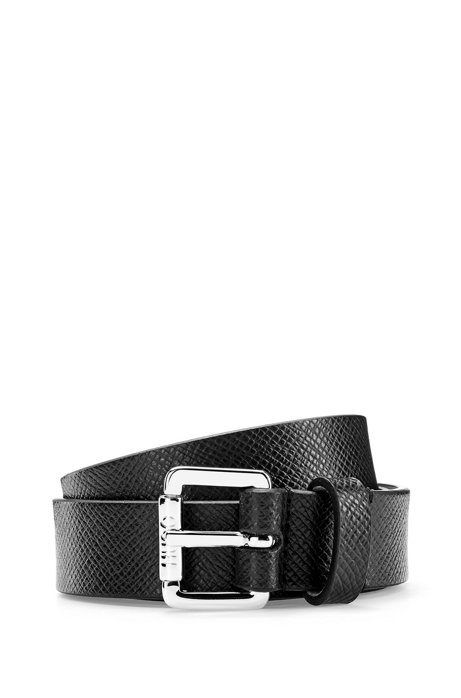 Buckled belt in Italian saffiano-printed leather, Black