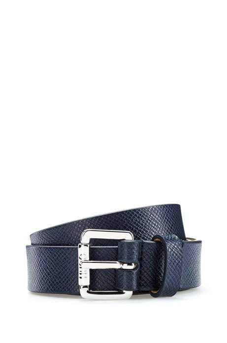 Buckled belt in Italian saffiano-printed leather, Dark Blue