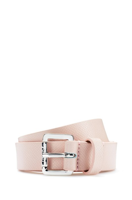 Buckled belt in Italian saffiano-printed leather, Open Pink