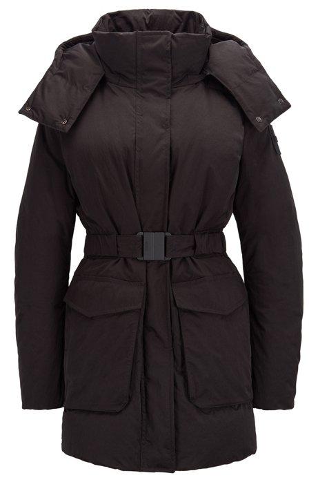 Manteau doudoune déperlant à capuche amovible, Noir