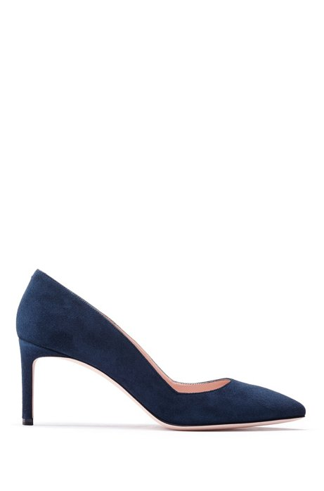 Pointed-toe pumps in Italian suede, Dark Blue