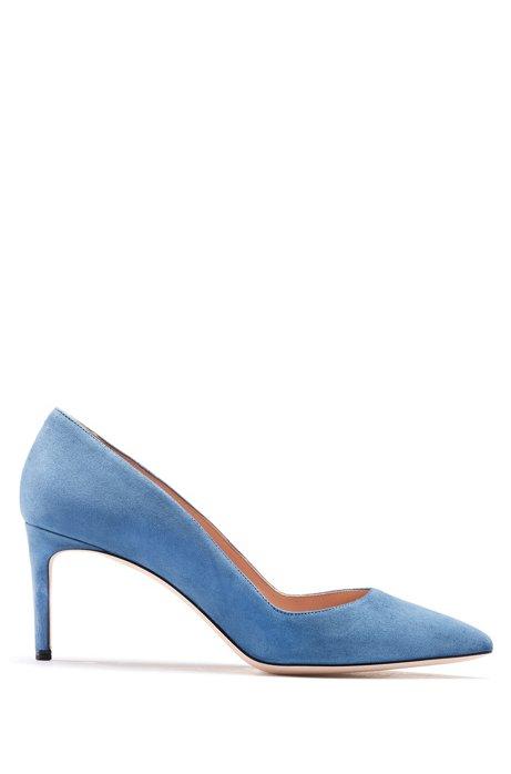Pointed-toe pumps in Italian suede, Open Blue