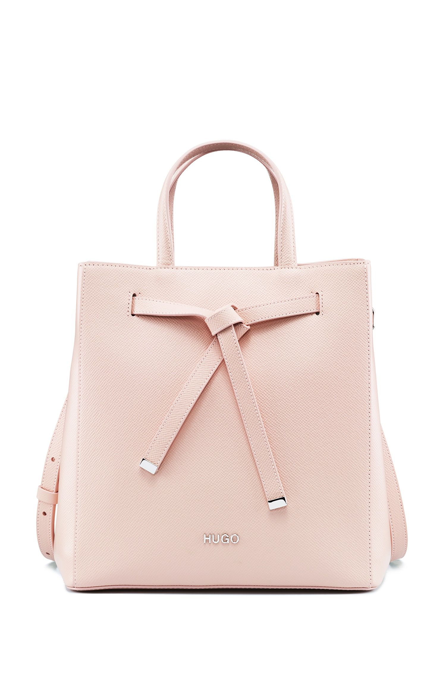 Bucket bag in Saffiano leather with drawstring detail, Pink