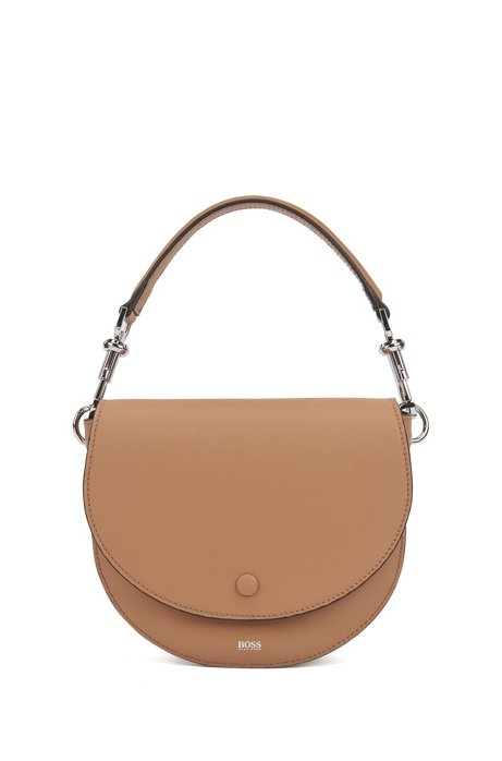 Italian-leather saddle bag with snap-hook hardware, Beige