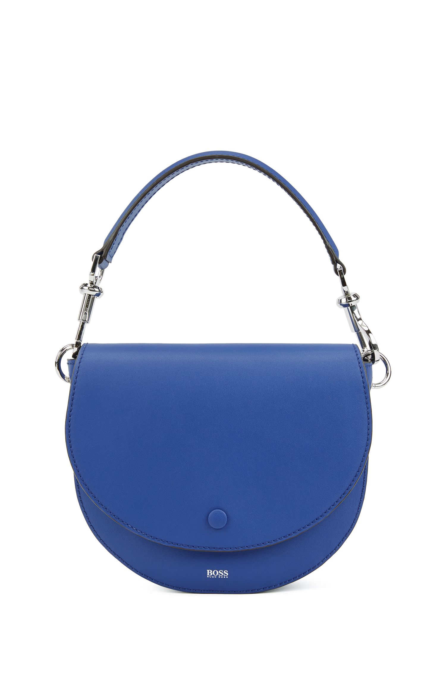 Borsa Saddle in pelle italiana con moschettone in metallo, Blu