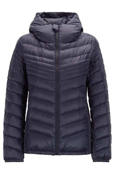 Lightweight down jacket with hood and water-repellent finish, Blue