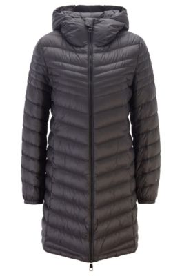 Hooded puffer coat with degradé quilting, Black