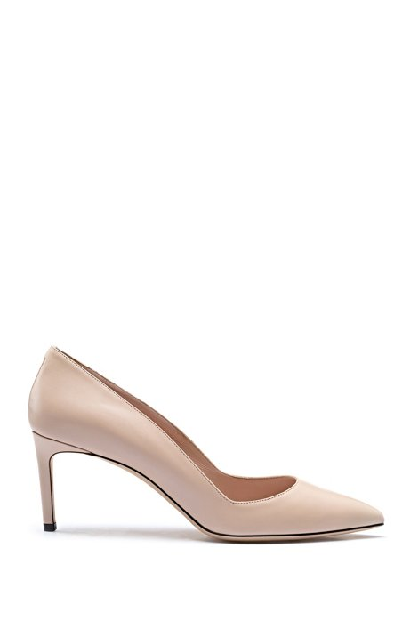 Pointed-toe pumps in Italian calf leather, Light Beige