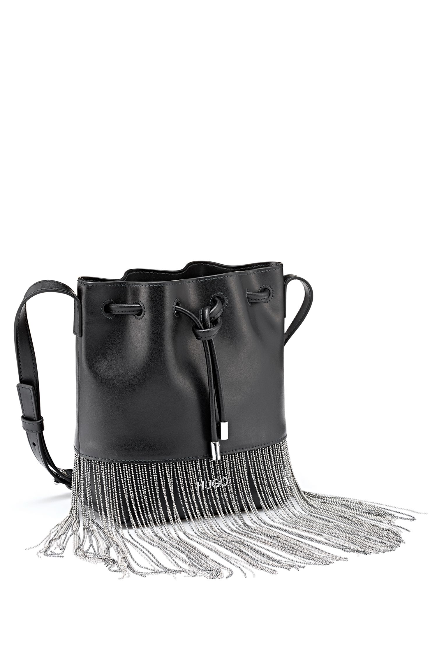 Drawstring bucket bag in Italian leather with ball-chain fringing, Black