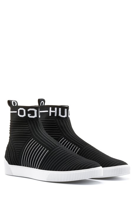 High-top ribbed-knit trainers with reverse logo, Black