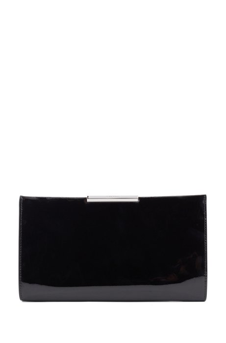 Patent-leather clutch with detachable chain strap, Light Beige