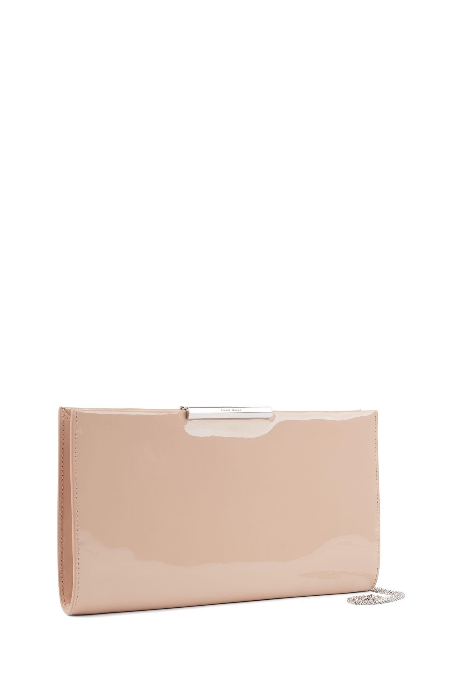 Pochette en cuir verni avec bandoulière à maillons amovible, Beige clair