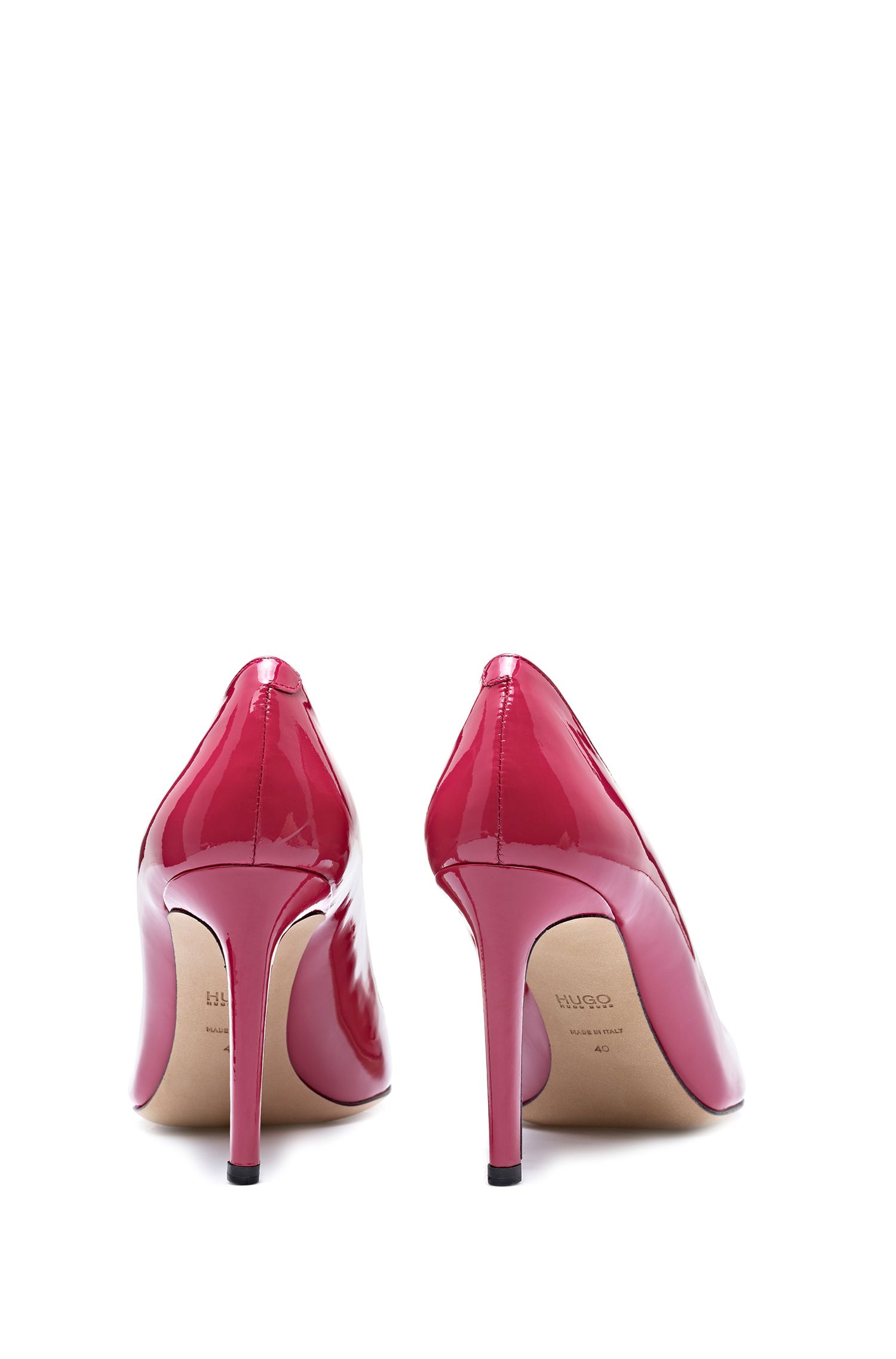 Patent-leather pumps with straight 90mm heel, Open Red