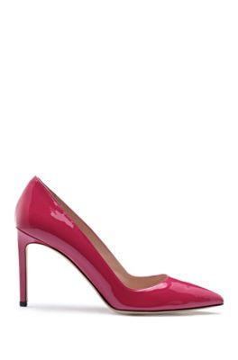 Zapatos de salón de piel de charol con tacón recto de 90mm, Rojo claro