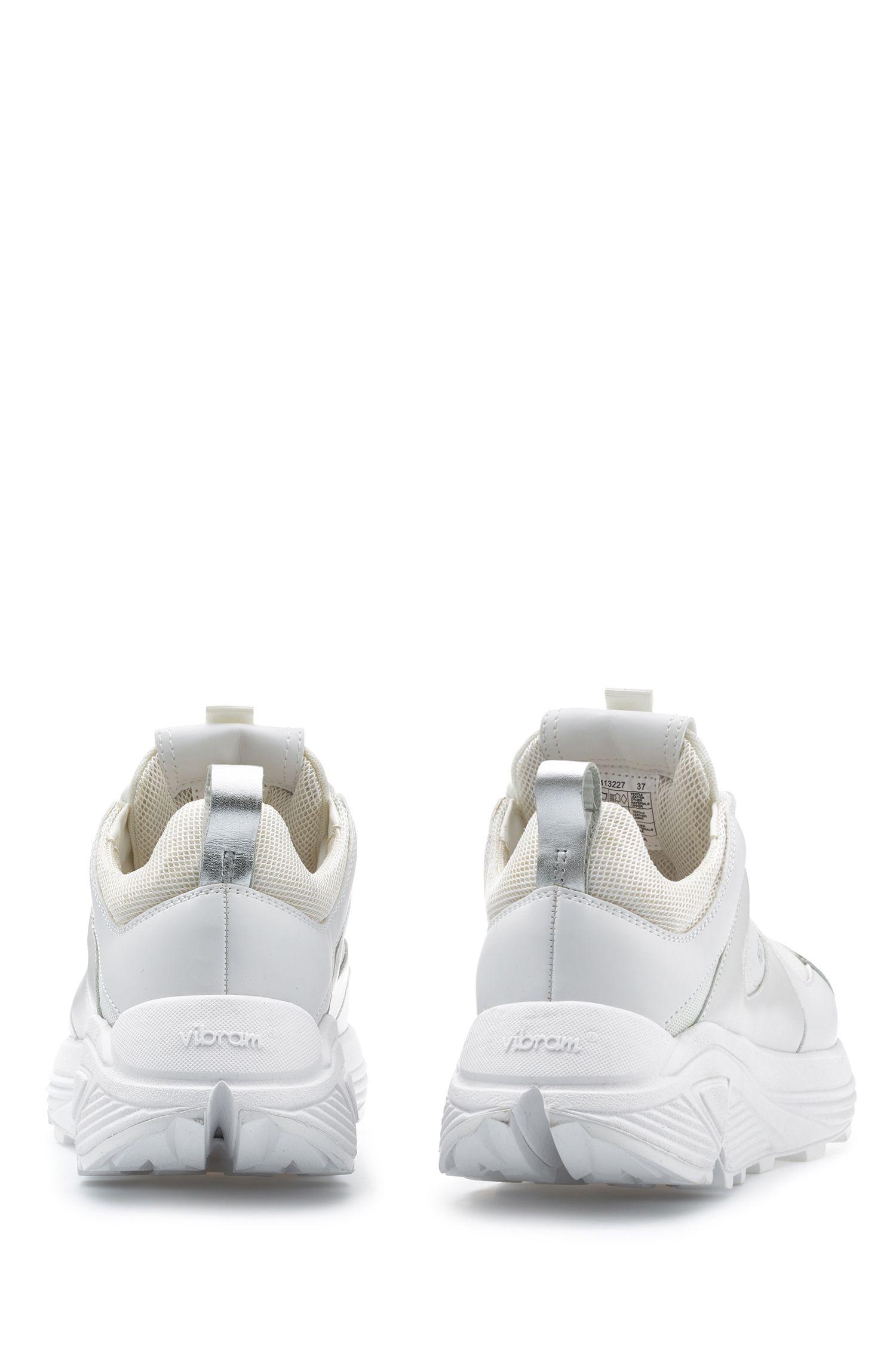 Vetersneakers met suède en mesh details, Wit