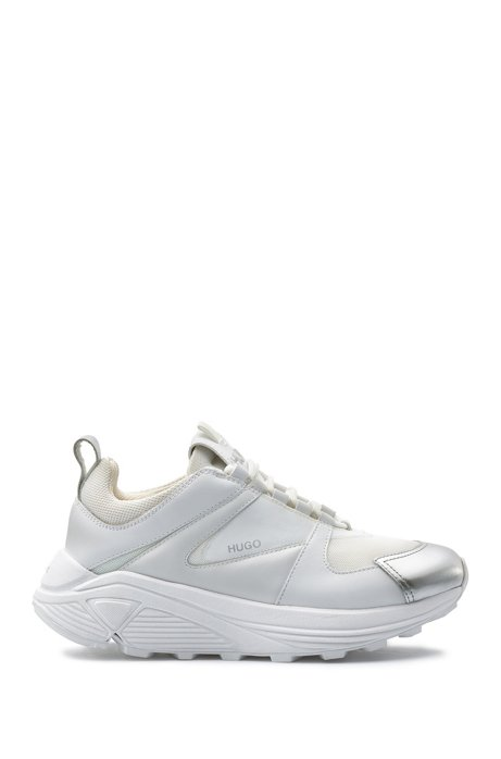 Lace-up trainers with suede and mesh details, Open White