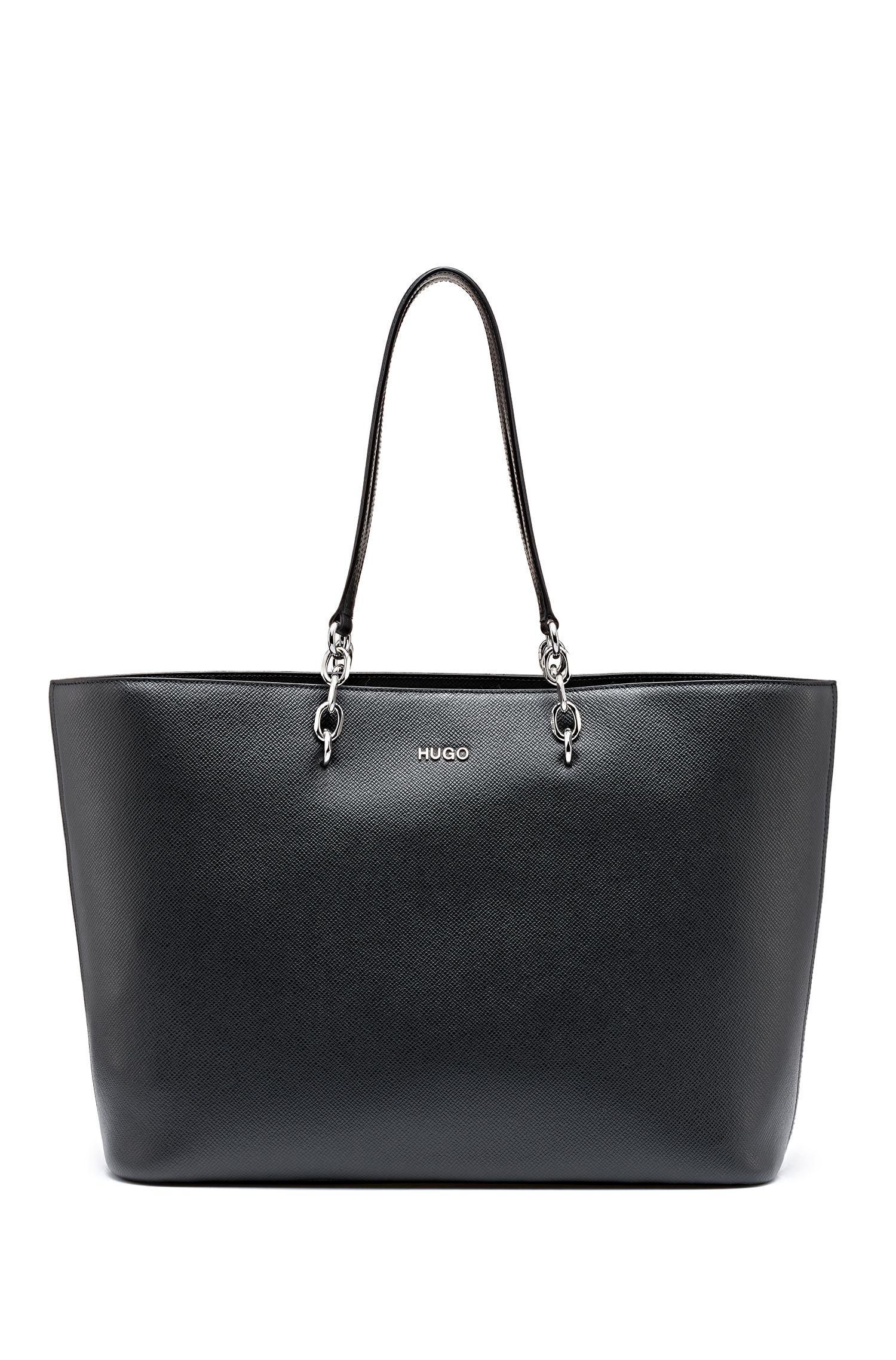Cabas en cuir imprimé Saffiano avec détails argentés, Noir