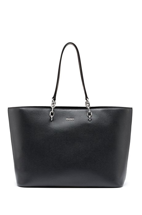 Shopper bag in saffiano-printed leather with silver details, Black