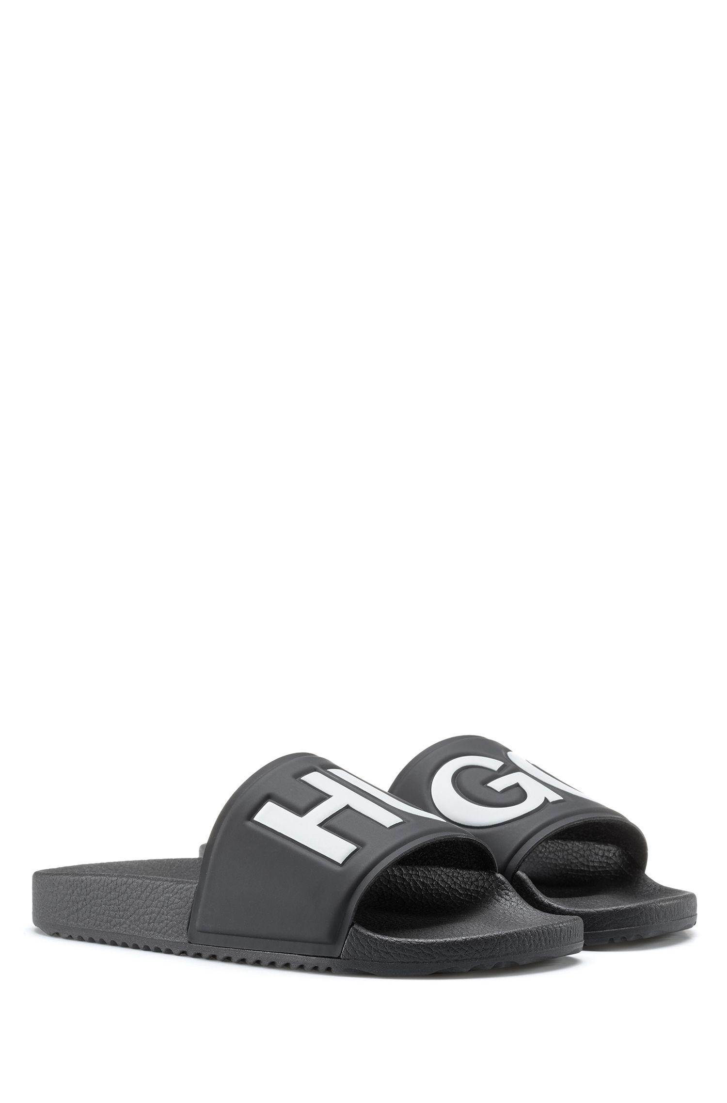 Contrast logo slides with contoured footbed, Black