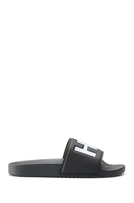 Contrast logo slides with contoured footbed, Black