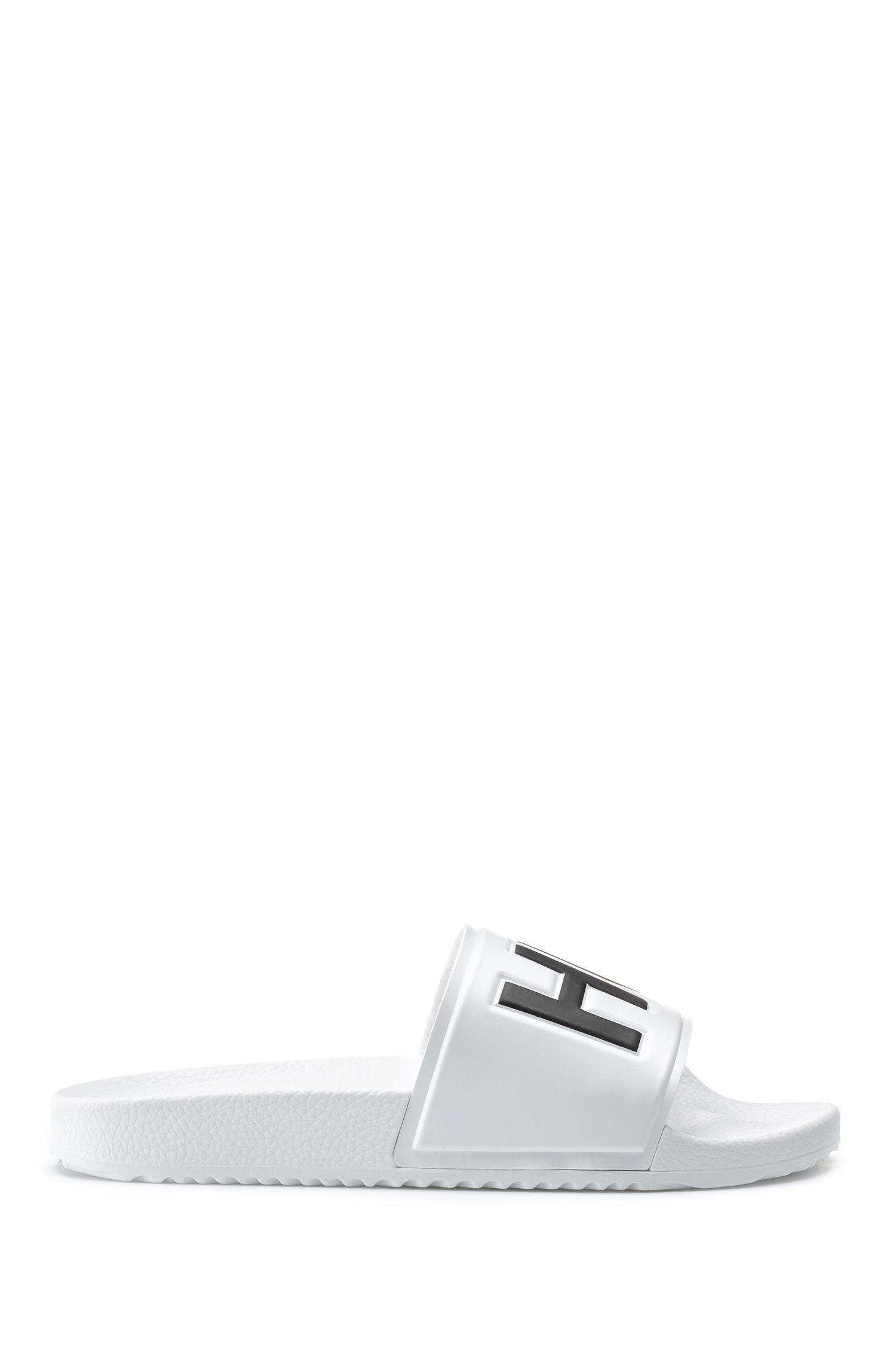 Chanclas con logo en contraste y plantilla perfilada, Blanco