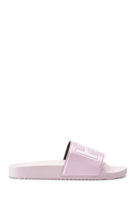 Contrast logo slides with contoured footbed, Open Pink
