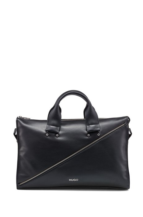Faux-leather tote bag with zip detail, Black