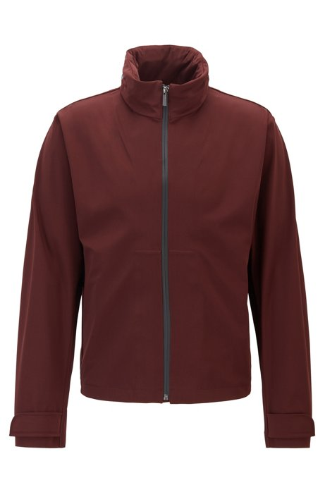 Water-repellent zip-through jacket with packable hood, Dark Red