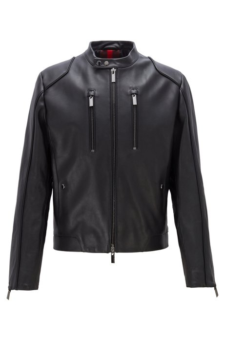 Bomber jacket in leather with vertical chest pockets, Black