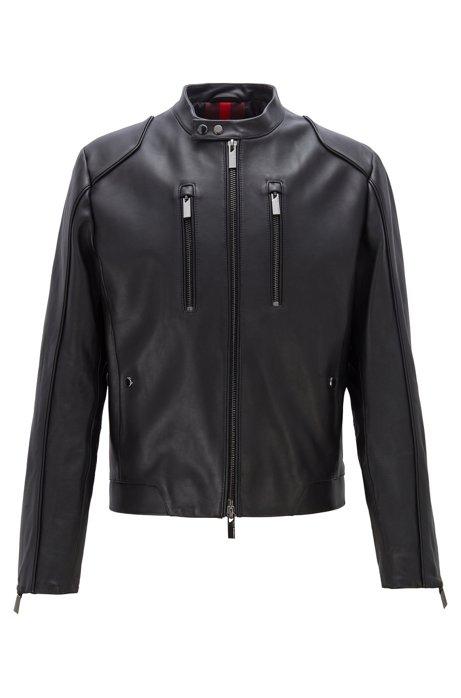 Blouson aus Leder mit vertikalen Brusttaschen, Schwarz