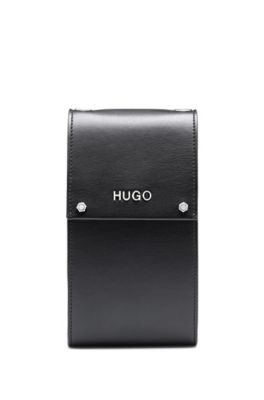 Logo phone case in faux leather, Black